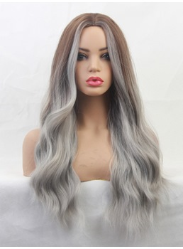 Long Mix Color Wavy Synthetic Hair Women Wig 24 Inches