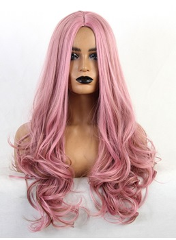 Cosplay Hairstyle PInk Color Long Wavy Middle Part Wig 24 Inches