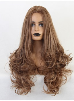 Cosplay Women Wig Long Light Brown Synthetic Hair 24 Inches