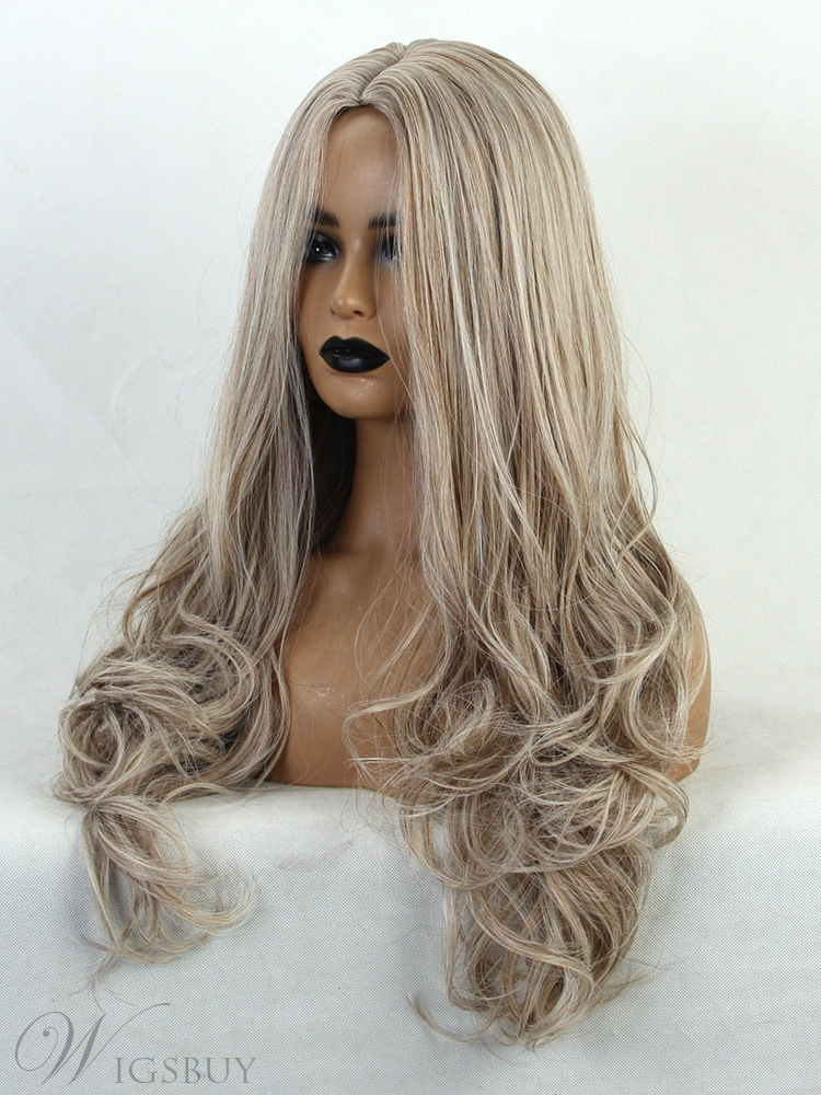 Middle Part Long Wavy Synthetic Hair Women Wig Density 130%
