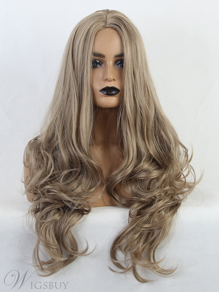 Middle Part Long Synthetic Hair Wavy Womenn Wig 24 Inches