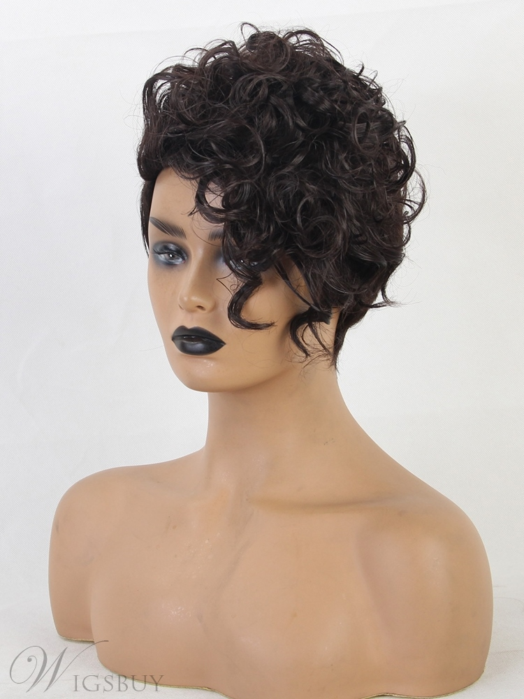 African American Wigs Boy Cut Synthetic Hair Women Wig 8 Inches