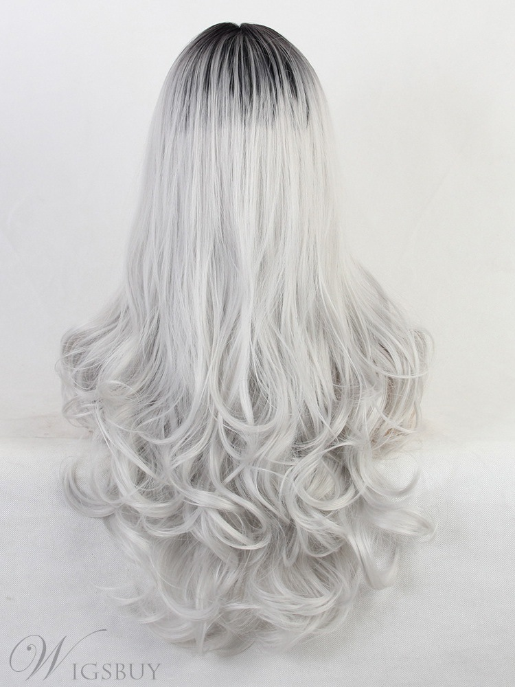 Ombre White Color Long Synthetic Hair Wavy Wig 24 Inches
