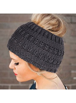 Pure Color Knit Ponytail Hat