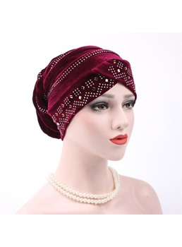 Color puro giro rhinestone mujeres turbante