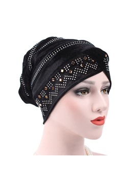 Pure Color Twist Rhinestone Women Turban