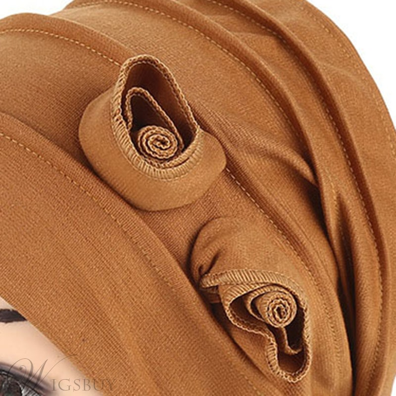 Pure Color Twist Flower Women Turban