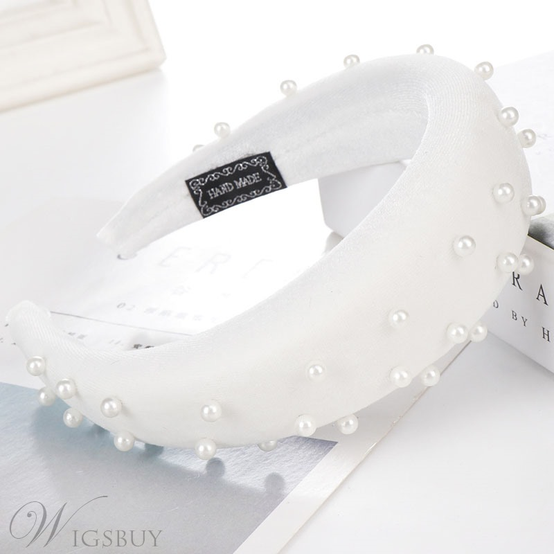 Velvet Hair Band Pure Color Pearl Hair Accessories