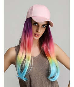 Rainbow Color Synthetic Long Straight Baseball Cap With Hair Wig Hat For Women