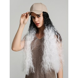 Baseball Hat With Long Water Wave Synthetic Ombre Hair Wig For Women