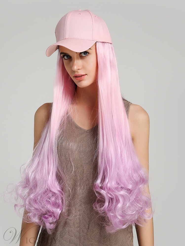 Ombre Wavy Synthetic Hair Wig With Adjustable Black Baseball Cap For Women