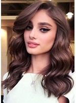 Natural Looking Women's Side Part Long Wavy Human Hair Lace Front Wigs 20 Inches