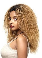 Women's Ombre Blonde Lace Front Wig T1B/27 Kinky Curly Synthetic Hair Wigs Pre Plucked Hair 24Inch