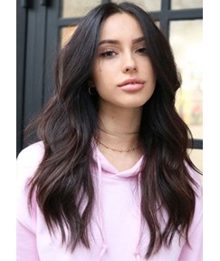 Natural Looking Women's Middle Part Wavy Synthetic Hair Wigs High Density Lace Front Cap Wigs 22inch