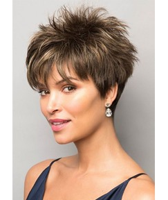 Pixie Boy Cut Hairstyles Women's Short Length Straight Synthetic Hair Wigs Capless Wigs 10Inch