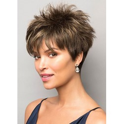 Pixie Boy Cut Hairstyles Womens Short Length Straight Synthetic Hair Wigs Capless Wigs 10Inch