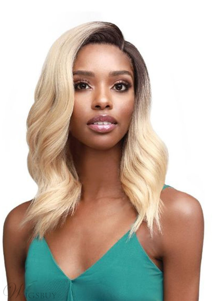 Medium Hairstyles Women's Natural Looking Wavy Synthetic Hair Lace Front Wigs 18Inch
