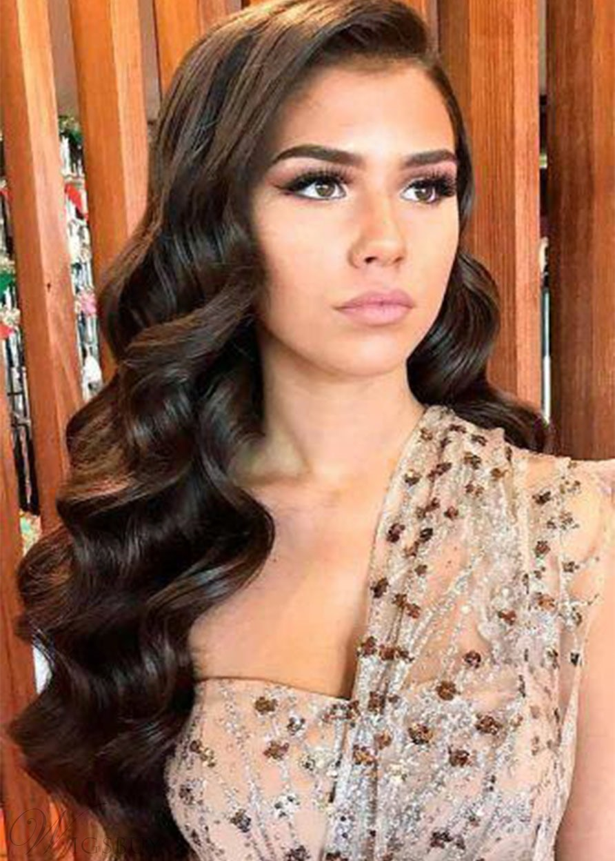 High Density Women's Long Length Loose Wave 100% Human Hair Wigs Lace Front Wigs 26Inch