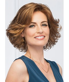 Natural Wavy Middle Synthetic Hair Lace Front Wigs Glamour Short Hairstyle For Women In Party 16Inch