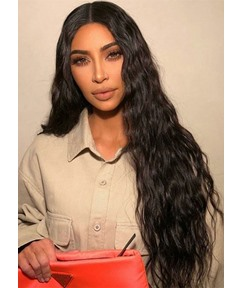 KIM KARDASHIAN Hairstyle 100% Human Hair Wigs Women's Curly Natural Looking Long Length Lace Front Wigs 26inch