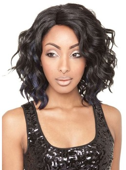 Medium Natural Looking Wavy Hairstyles Women's Synthetic Hair Wigs Rose Capless Wig 16Inch
