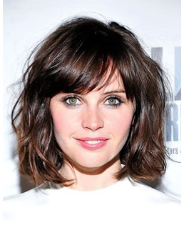Short Layered Hairstyle Women's Natural Straight Synthetic Hair Capless Wigs 16Inches