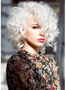 613 Blonde Color Women's Big Curly Short 100% Human Hair Lace Front Cap Wigs 14Inches