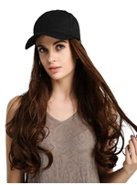 Synthetic Brown Wavy LongWig With Baseball Cap Hat