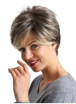 Short Layered Mixed ColorStraight Synthetic Hair With Bangs Capless Women Wigs