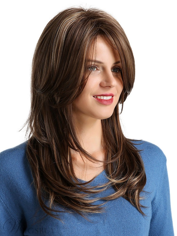 Long Wavy Synthetic Hair With Bangs Women Wig 20 Inches