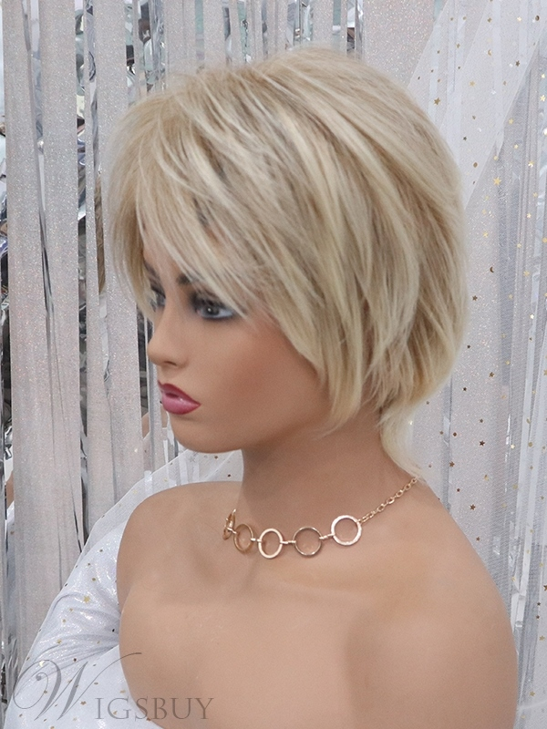 Short Choppy Layered Straight Hair With Bangs Synthetic Capless Wig 12 Inches