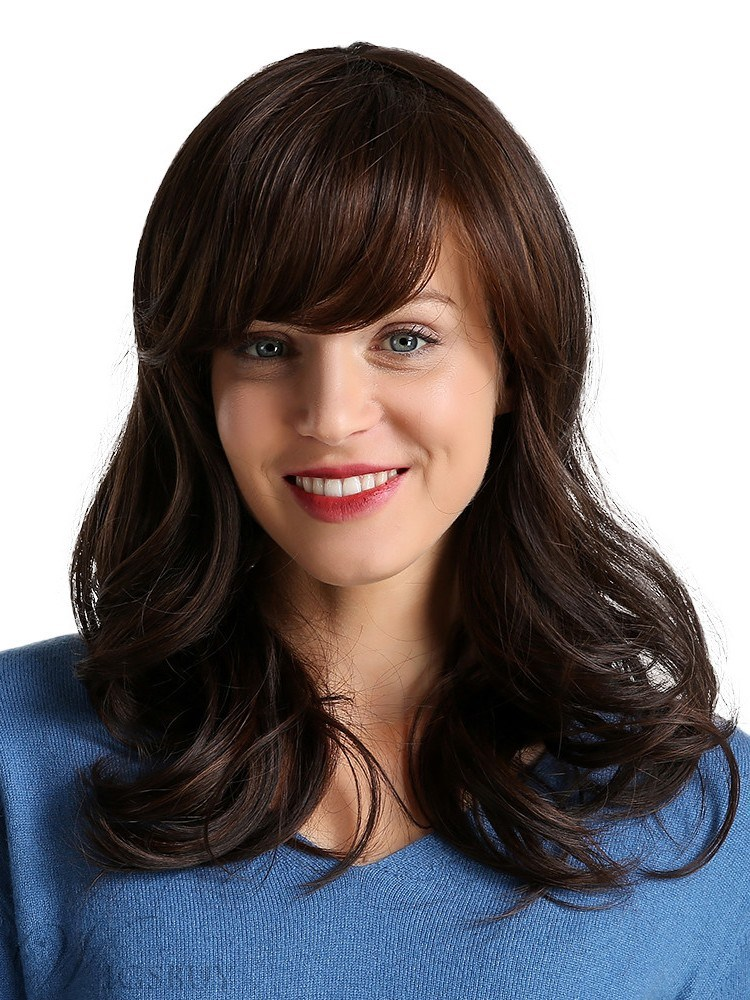 Long Wavy Synthetic Hair With Bangs Women Wig 130% Density