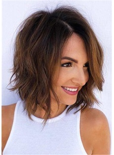 Messy Layered Wavy Human Hair Women Wig 14 Inches