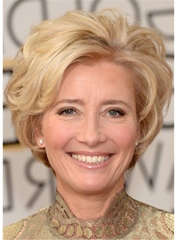 Emma Thompson Hairstyle Short Blonde Human Wavy Hairstyle For Women