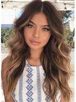 Middle Part Long Wavy Human Hair Women Wig 24 Inches
