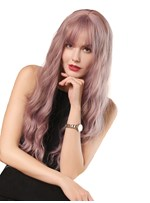 Long Water Wave Synthetic Hair With Bangs Women Wig 130% Density