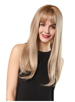 Women's Long Length Blonde Color Synthetic Hair Wigs 130% Density Rose Net Capless Wigs 24Inches