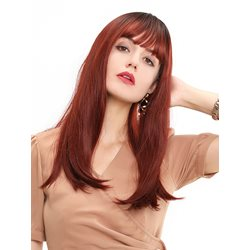 130% Density Womens Red Wine Color Natural Straight Synthetic Hair Wigs Ear Tabs Rose Capless Wig 24Inches