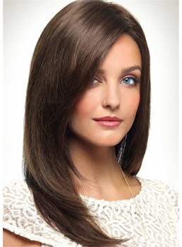 Long Natural Straight Human Hair Women Wig 18 Inches