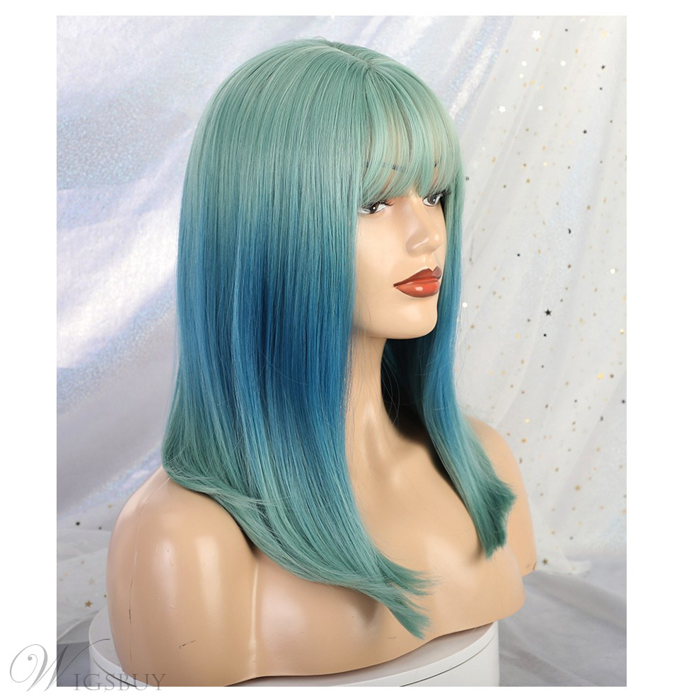 Women's Medium Mixed Color Cosplay Hairstyles Straight Synthetic Hair Capless Wigs 16Inches