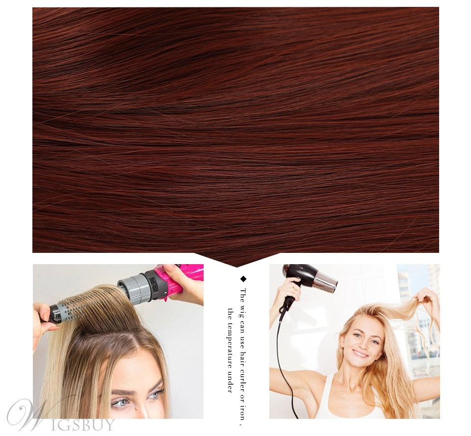 130% Density Women's Red Wine Color Natural Straight Synthetic Hair Wigs Ear Tabs Rose Capless Wig 24Inches