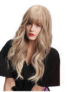 130% Density Women's Light Brown Blonde Color Synthetic Hair Wigs With Ear Tabs Rose Capless Wigs 24Inches