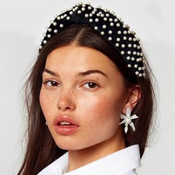 1PC Crystal Hairband Headband Cloth Pearl Inlaid Plain European Style Hair Bands Hoop for Women/Gril/Ladies