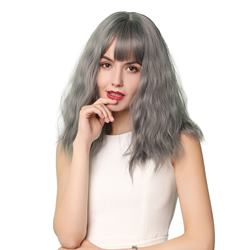Grey Color Synthetic Hair With Bangs Wavy Women Wig 16 Inches