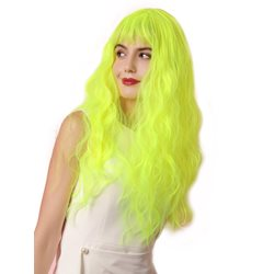 Sexy Womens Fluorescent Green Water Wave Synthetic Hair Capless Wigs Costume Party 22Inches