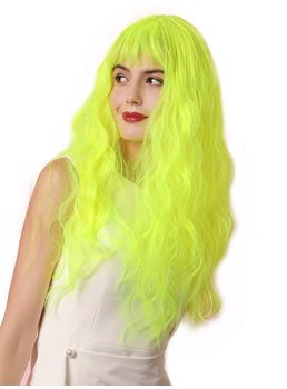 Sexy Women's Fluorescent Green Water Wave Synthetic Hair Capless Wigs Costume Party 22Inches