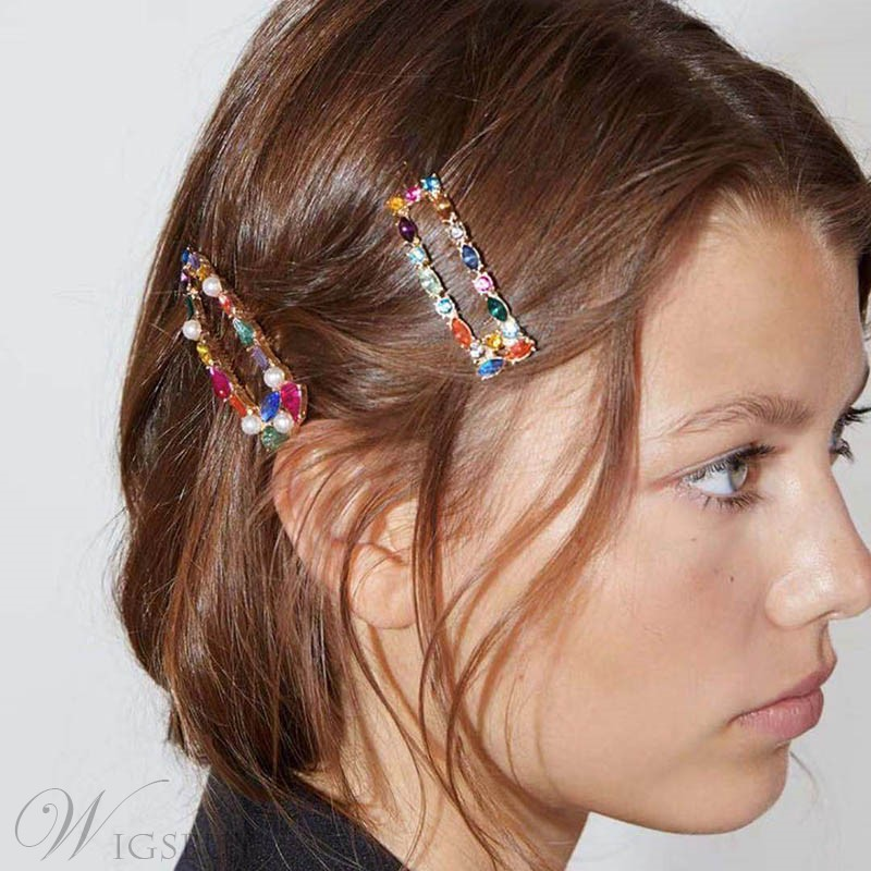 Women/Ladies/Girls Sweet Style Color Block Pattern Alloy Diamante Hairgrip For Prom/Anniversary/Wedding/Party/Birthday/Gift
