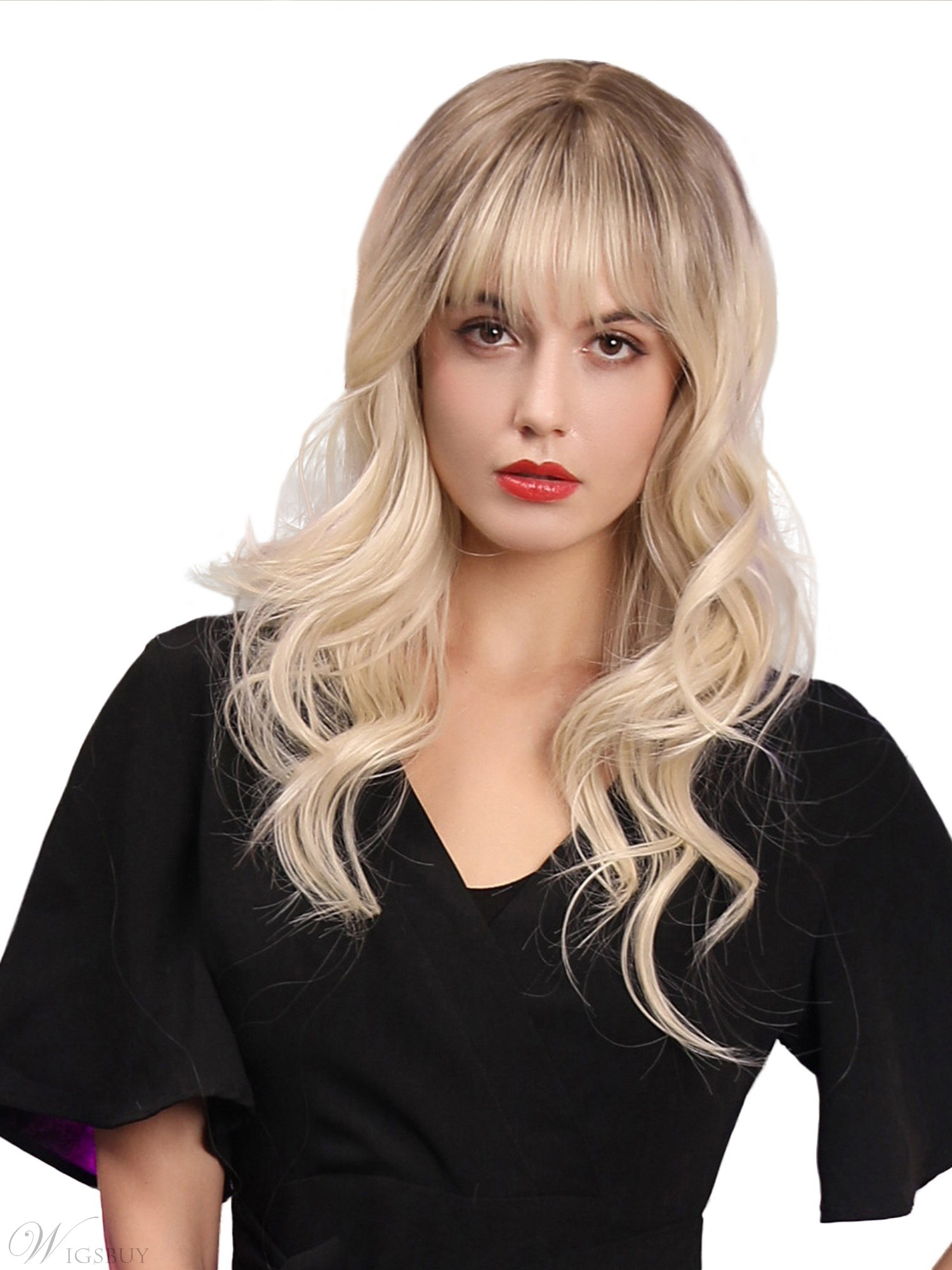 130% Density Women's Long Length Wavy Hairstyles Synthetic Hair Wigs Capless Wigs 20Inches