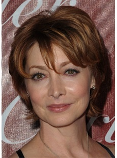 Short Straight Layered Human Hair Hair 12 Inches Wig for Older Women