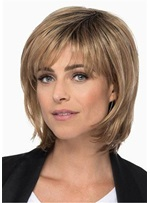 Medium Length Layered Bob With Bangs Synthetic Hair Lace Front Wig 14 Inches